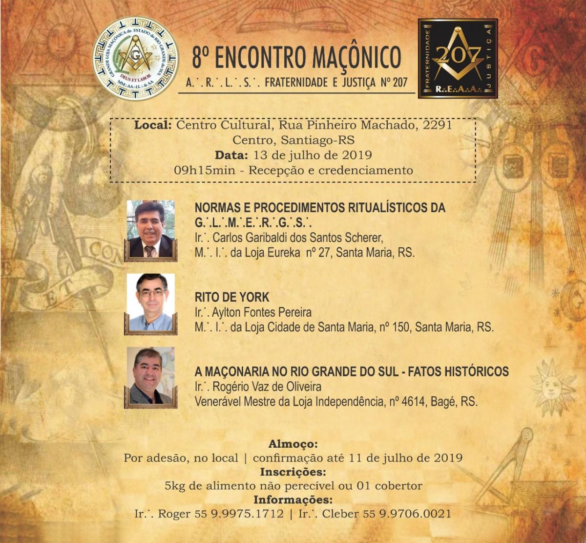 8º Encontro Macônico - A.R.L.S. Fraternidade e Justiça nº 207