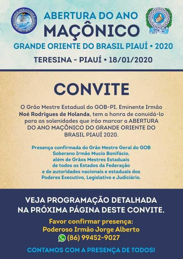 Abertura do Ano Maçônico Grande Oriento do Brasil - Piauí 2020