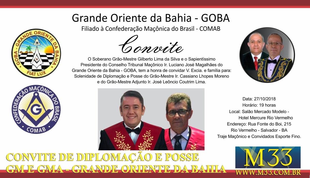 Solenidade de Diplomação e Posse Grão-Mestre e Grão-Mestre Adjunto do Grande Oriente da Bahia