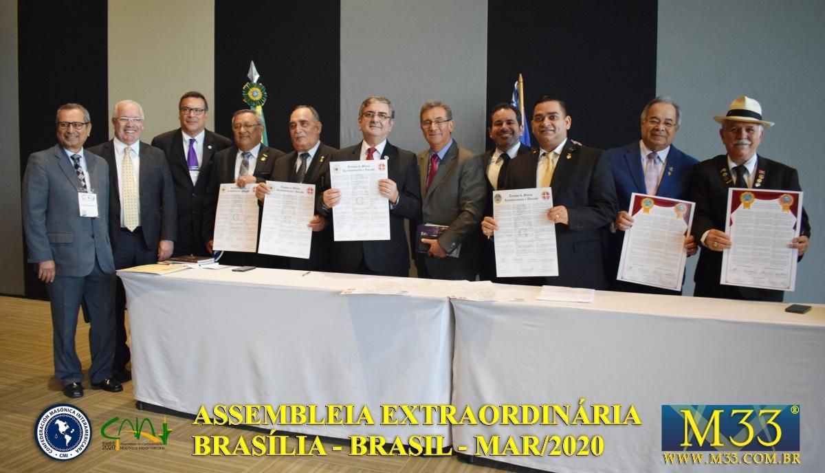 Assembleia Extraordinária da Confederação Maçônica Interamericana CMI Brasília Brasil - Março 2020 Parte 19 Tratados