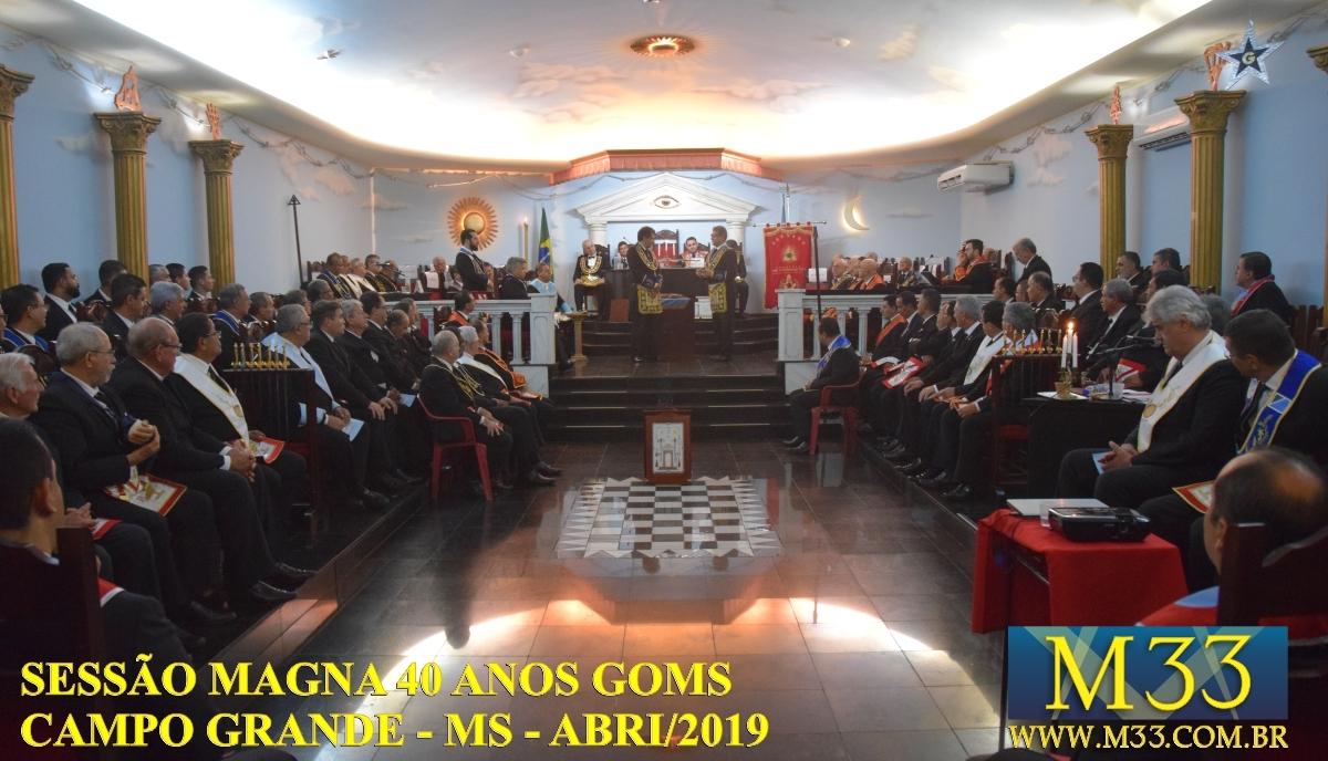 Sessão Magna 40 Anos do Grande Oriente de Mato Grosso do Sul - GOMS - abril/2019 - Campo Grande/MS - Parte 1