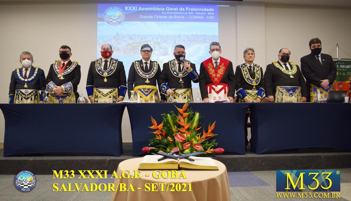 XXXI ASSEMBLEIA GERAL FRATERNA DO GRANDE ORIENTE DA BAHIA - GOBA - SALVADOR/BA - SET/21 - 2 ABERTURA PARTE 1