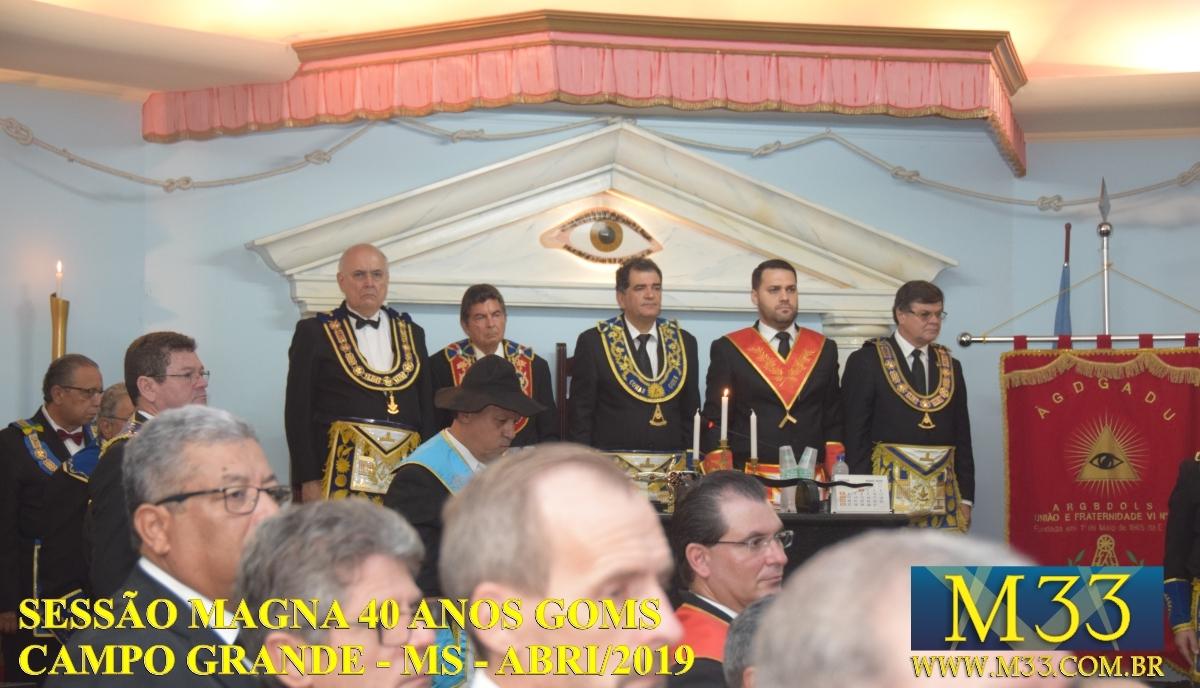 Sessão Magna 40 Anos do Grande Oriente de Mato Grosso do Sul - GOMS - abril/2019 - Campo Grande/MS - Parte 2