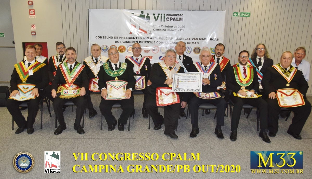 VII CONGRESSO DO CONSELHO DE PRESIDENTES DA ASSEMBLEIAS LEGISLATIVAS MAÇÔNICAS - CPALM CONFEDERADOS A COMAB - CAMPINA GRANDE/PB OUT/2020 PARTE 1