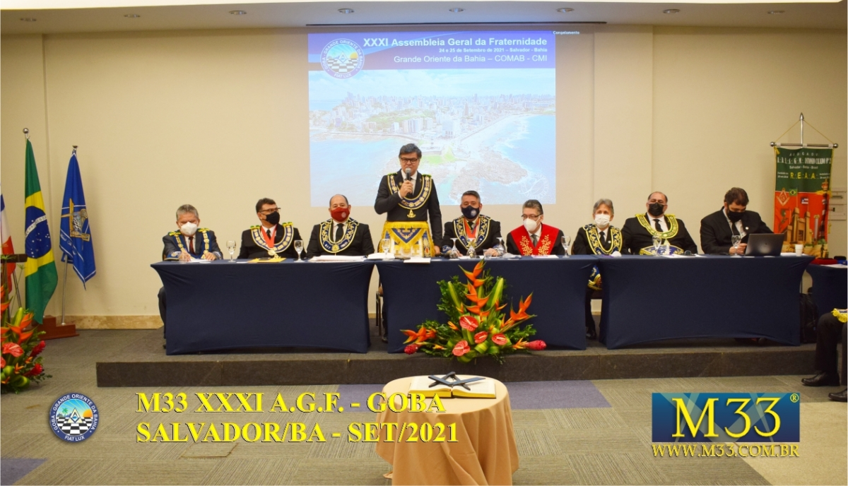 XXXI ASSEMBLEIA GERAL FRATERNA DO GRANDE ORIENTE DA BAHIA - GOBA - SALVADOR/BA - SET/21 - 2 ABERTURA PARTE 7