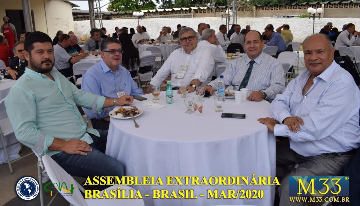 Assembleia Extraordinária da Confederação Maçônica Interamericana CMI Brasília Brasil - Março 2020 Parte 20 Feijoada GLMDF